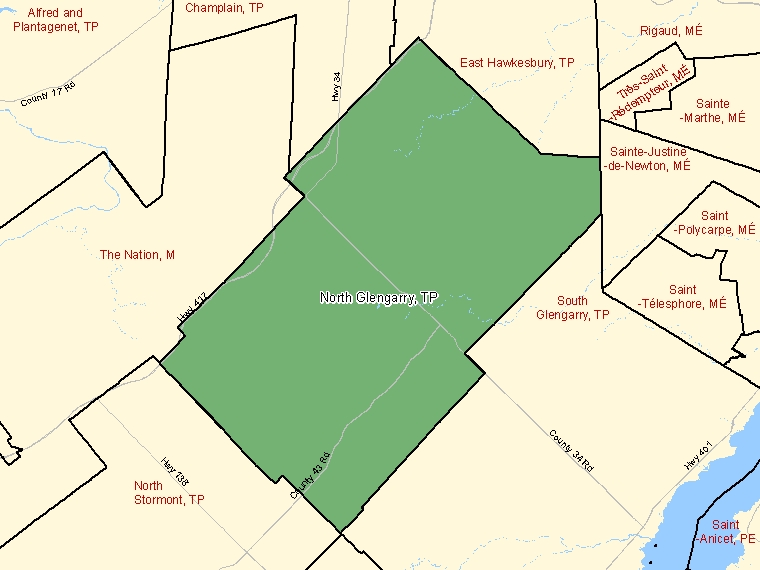 Map: North Glengarry, Township, Census Subdivision (shaded in green), Ontario