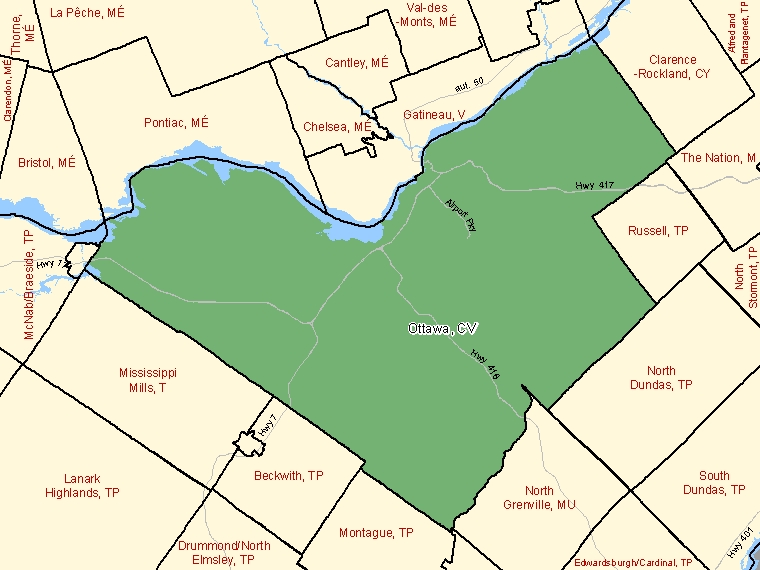 Map: Ottawa, City, Census Subdivision (shaded in green), Ontario