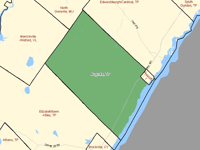 Map: Augusta, Township, Census Subdivision (shaded in green), Ontario