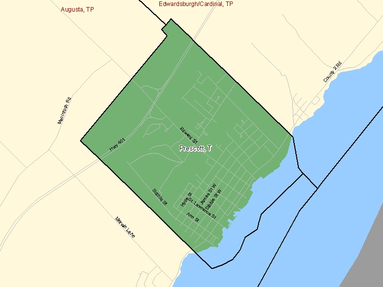 Map: Prescott, Town, Census Subdivision (shaded in green), Ontario
