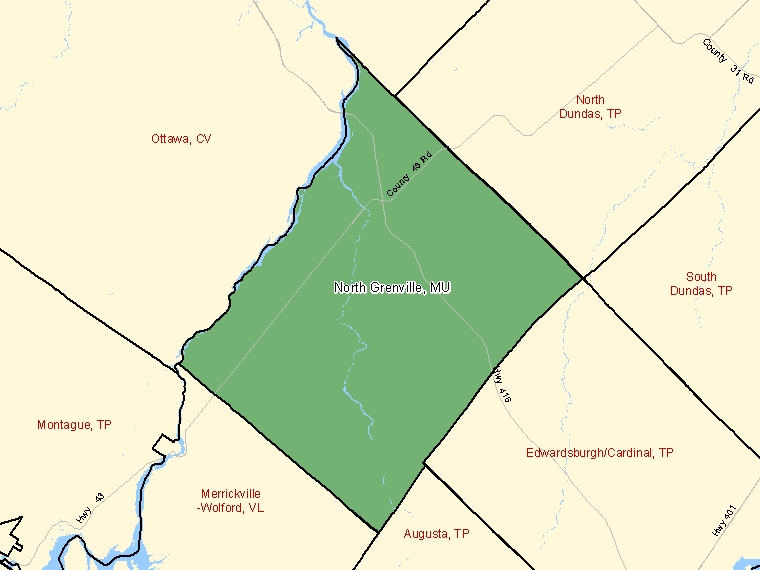 Map: North Grenville, Municipality, Census Subdivision (shaded in green), Ontario