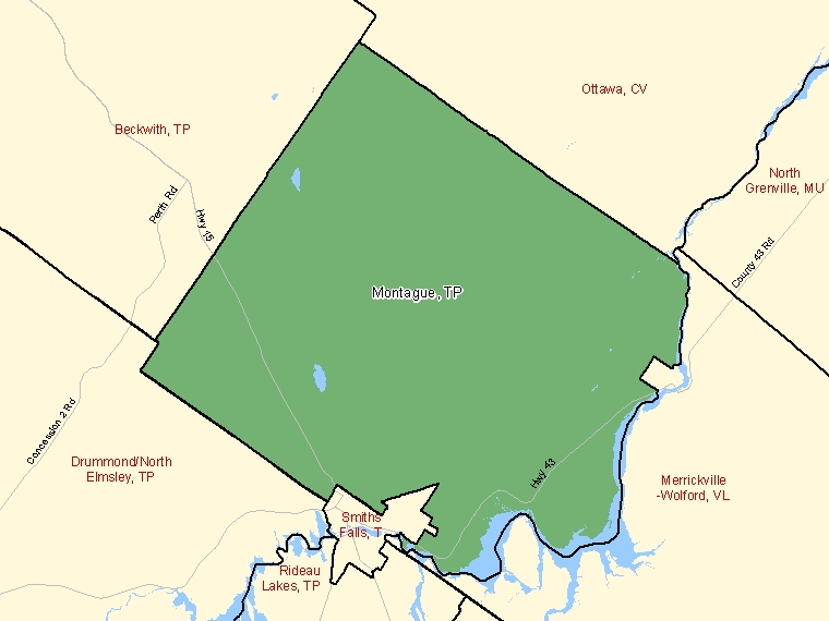 Map: Montague, Township, Census Subdivision (shaded in green), Ontario