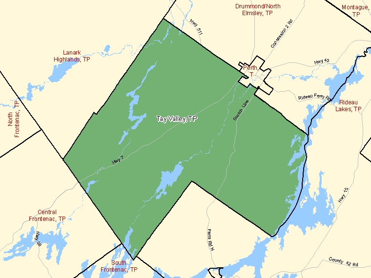Map: Tay Valley, Township, Census Subdivision (shaded in green), Ontario