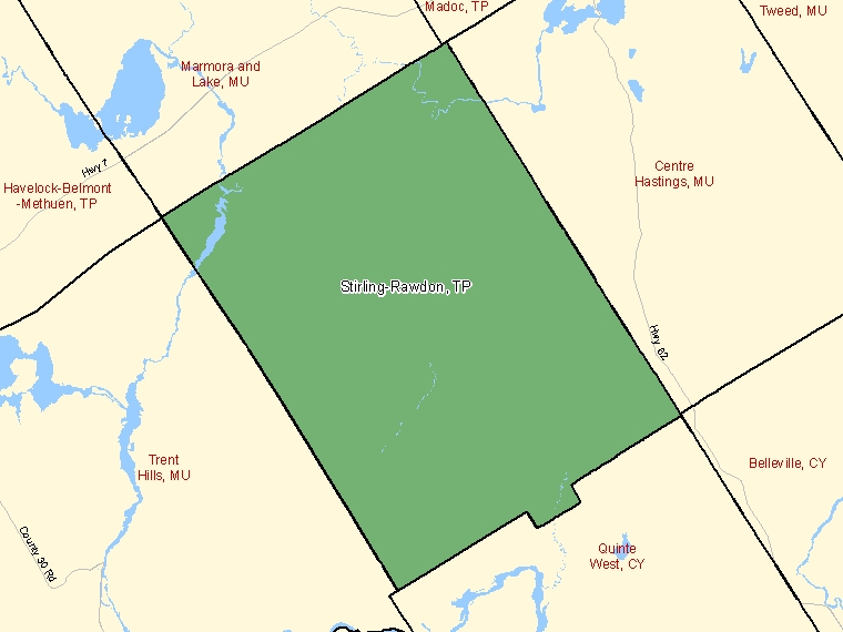 Map: Stirling-Rawdon, Township, Census Subdivision (shaded in green), Ontario