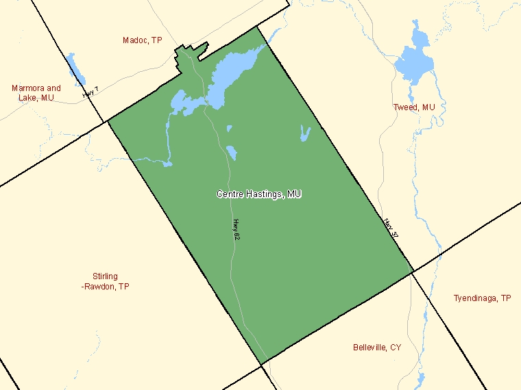 Map: Centre Hastings, Municipality, Census Subdivision (shaded in green), Ontario