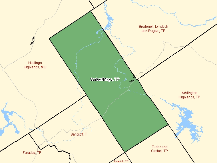 Map: Carlow/Mayo, Township, Census Subdivision (shaded in green), Ontario