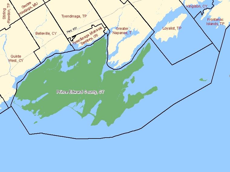 Map – Prince Edward County (CY)