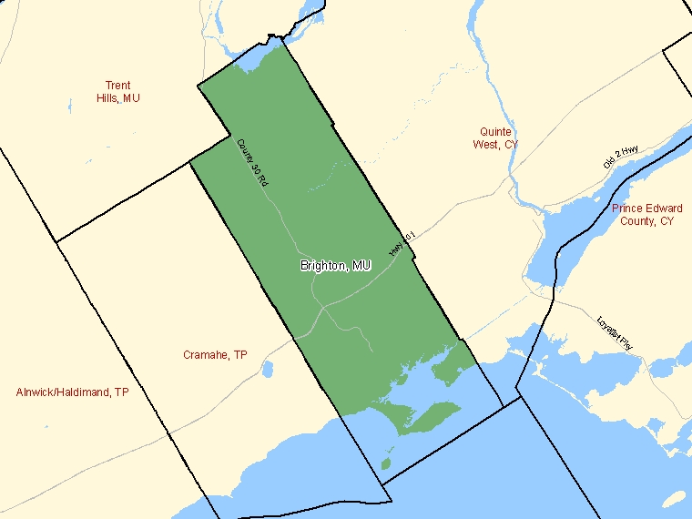 Map: Brighton, Municipality, Census Subdivision (shaded in green), Ontario