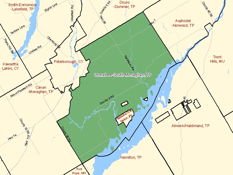 Map: Otonabee-South Monaghan, Township, Census Subdivision (shaded in green), Ontario