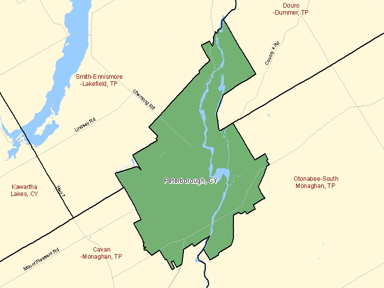Map: Peterborough, City, Census Subdivision (shaded in green), Ontario