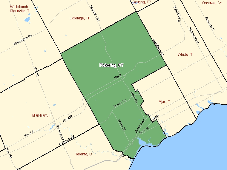 Map: Pickering, City, Census Subdivision (shaded in green), Ontario