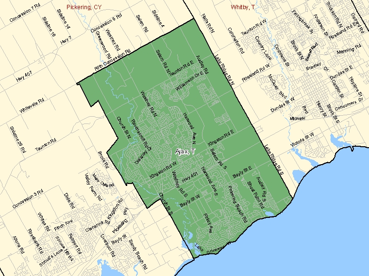 Map: Ajax, Town, Census Subdivision (shaded in green), Ontario