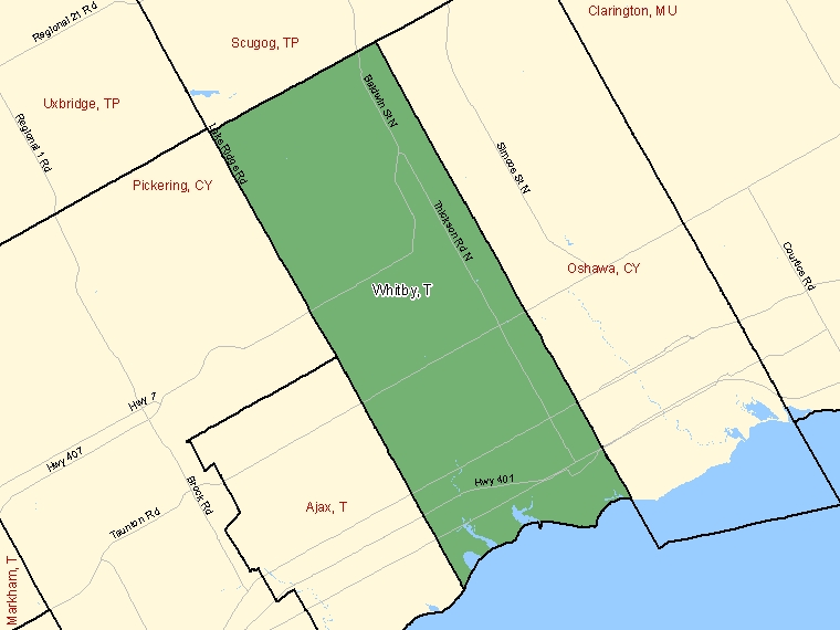 Map: Whitby, Town, Census Subdivision (shaded in green), Ontario