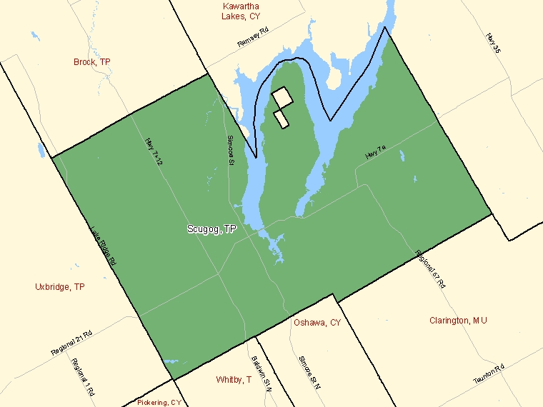 Map: Scugog, Township, Census Subdivision (shaded in green), Ontario
