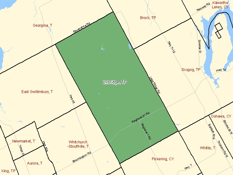 Map: Uxbridge, Township, Census Subdivision (shaded in green), Ontario