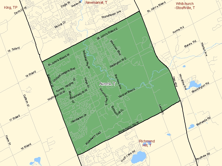 Map: Aurora, Town, Census Subdivision (shaded in green), Ontario