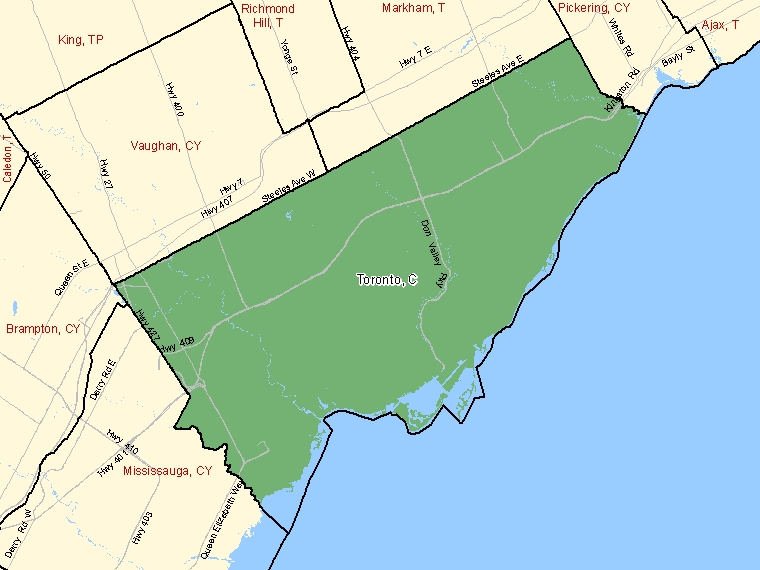 Map: Toronto, City, Census Subdivision (shaded in green), Ontario