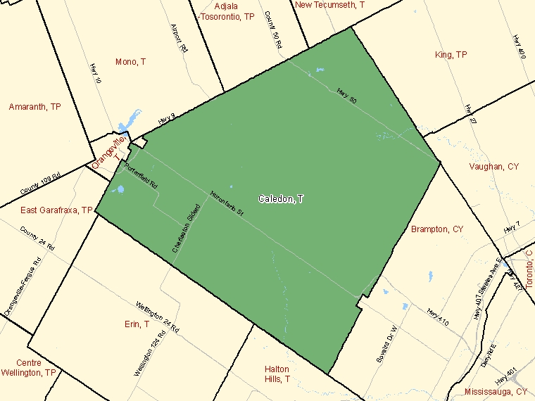 Map: Caledon, Town, Census Subdivision (shaded in green), Ontario