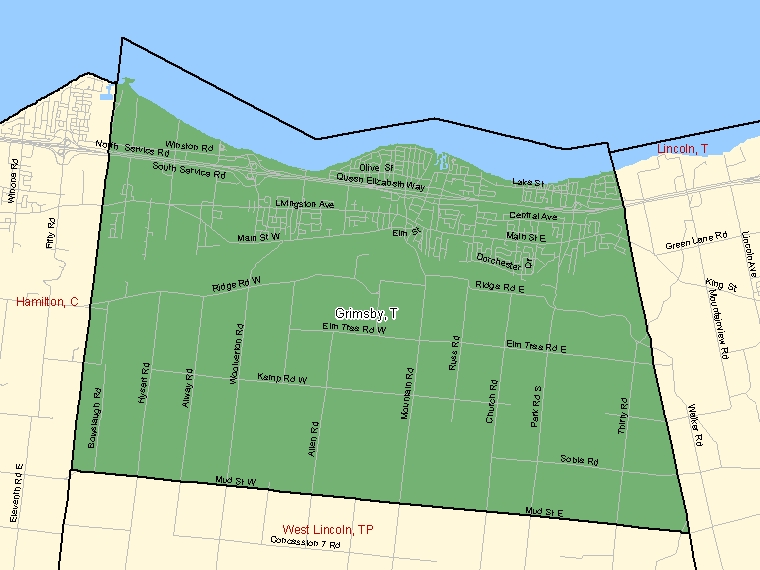 Map: Grimsby, Town, Census Subdivision (shaded in green), Ontario