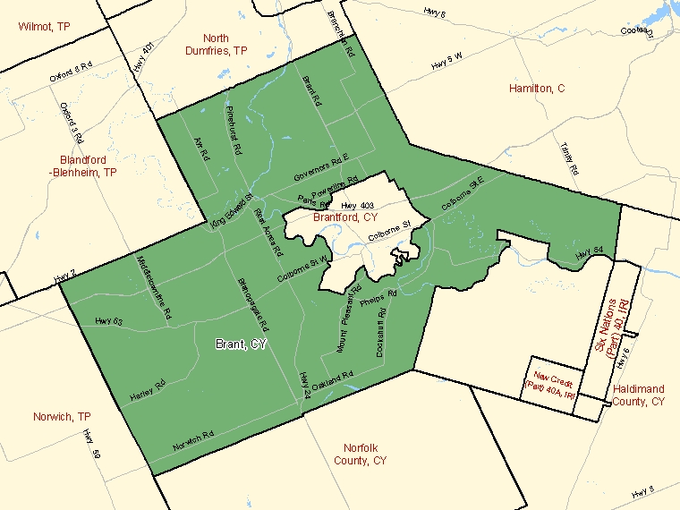Map: Brant, City, Census Subdivision (shaded in green), Ontario