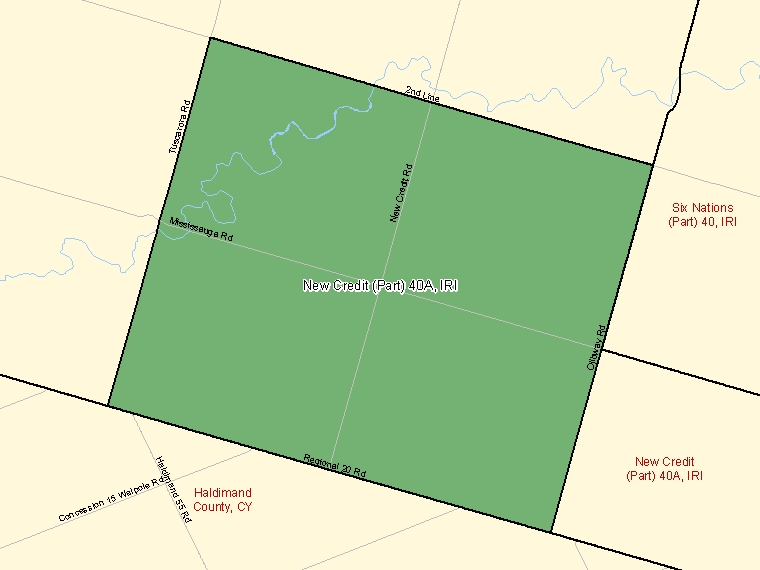 Map: New Credit (Part) 40A, Indian reserve, Census Subdivision (shaded in green), Ontario