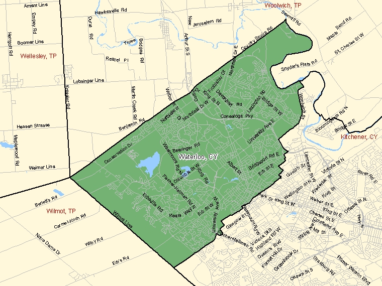 Map: Waterloo, City, Census Subdivision (shaded in green), Ontario