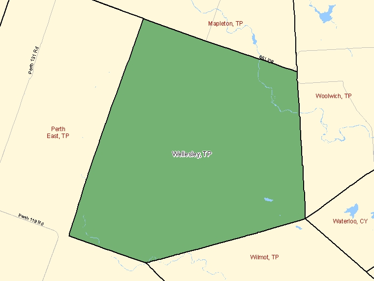 Map: Wellesley, Township, Census Subdivision (shaded in green), Ontario