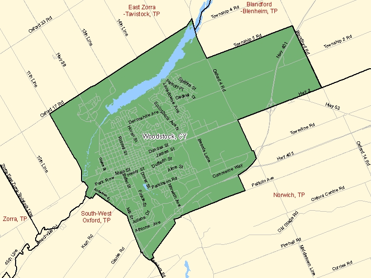 Map: Woodstock, City, Census Subdivision (shaded in green), Ontario