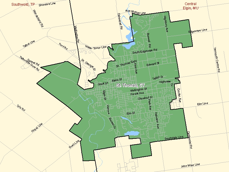 Map: St. Thomas, City, Census Subdivision (shaded in green), Ontario
