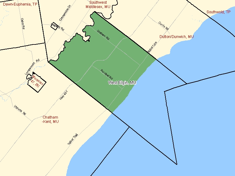 Map: West Elgin, Municipality, Census Subdivision (shaded in green), Ontario