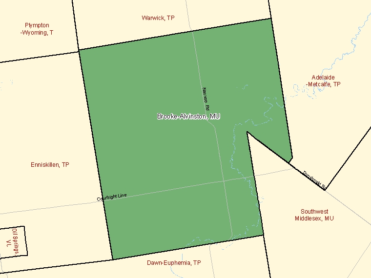 Map: Brooke-Alvinston, Municipality, Census Subdivision (shaded in green), Ontario