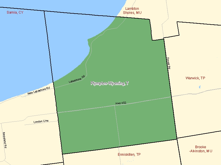 Map: Plympton-Wyoming, Town, Census Subdivision (shaded in green), Ontario