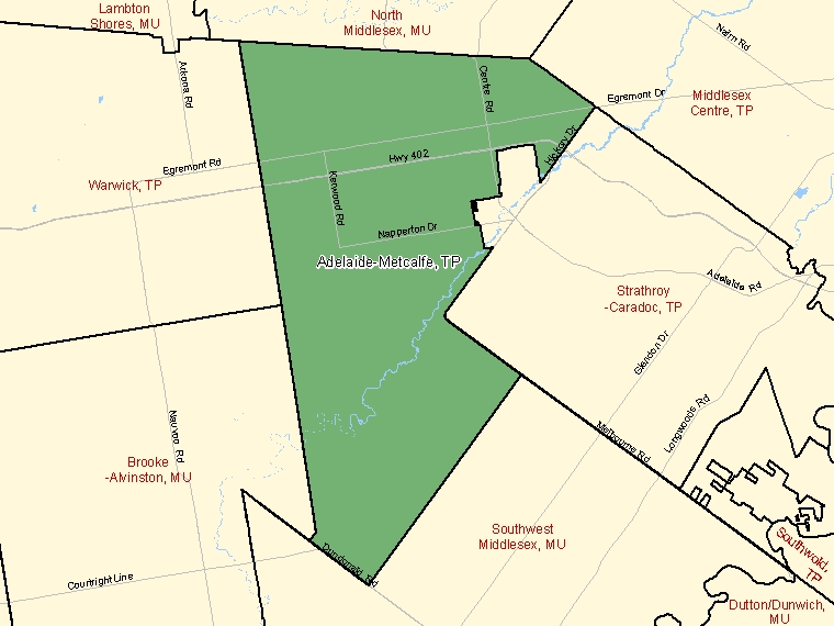 Map: Adelaide-Metcalfe, Township, Census Subdivision (shaded in green), Ontario