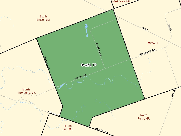 Map: Howick, Township, Census Subdivision (shaded in green), Ontario