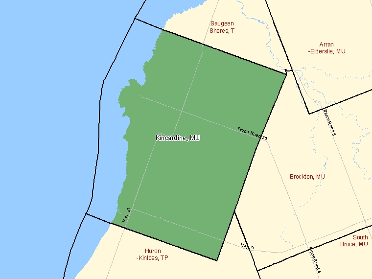 Map: Kincardine, Municipality, Census Subdivision (shaded in green), Ontario