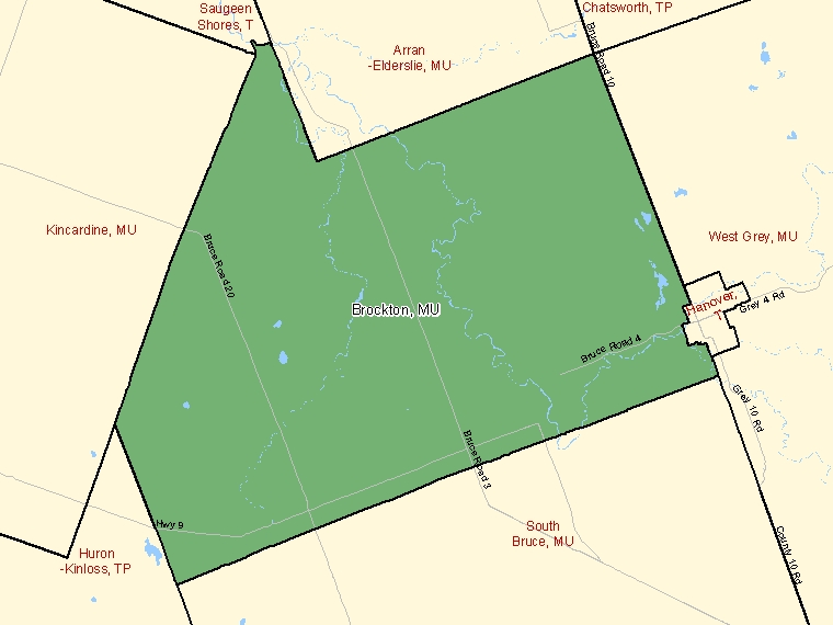Map: Brockton, Municipality, Census Subdivision (shaded in green), Ontario