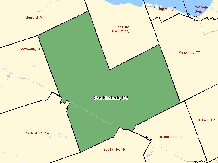 Map: Grey Highlands, Municipality, Census Subdivision (shaded in green), Ontario