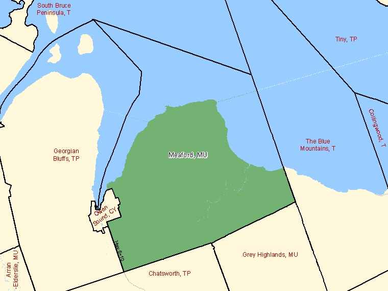 Map: Meaford, Municipality, Census Subdivision (shaded in green), Ontario