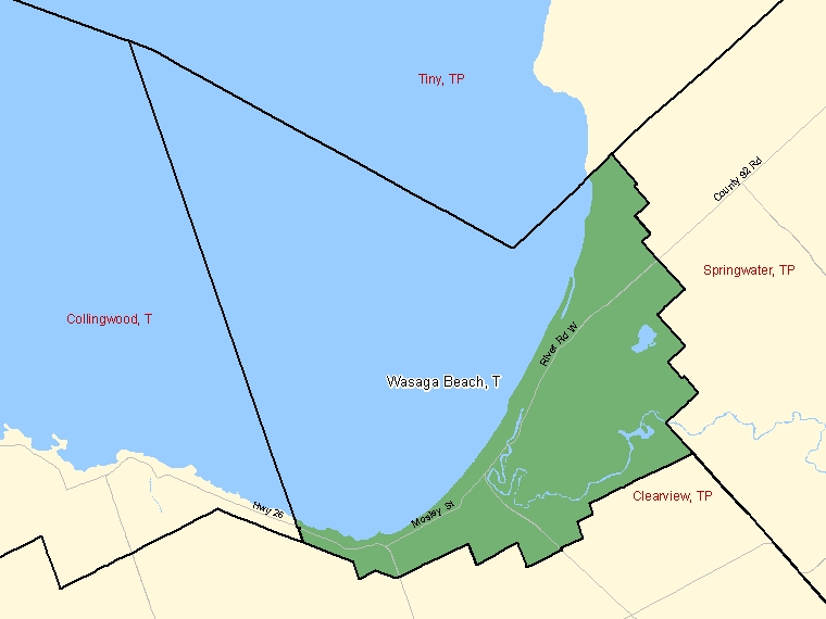 Map: Wasaga Beach, Town, Census Subdivision (shaded in green), Ontario