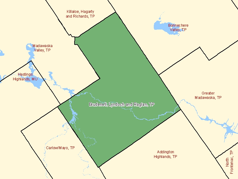 Map: Brudenell, Lyndoch and Raglan, Township, Census Subdivision (shaded in green), Ontario