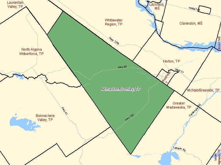 Map: Admaston/Bromley, Township, Census Subdivision (shaded in green), Ontario