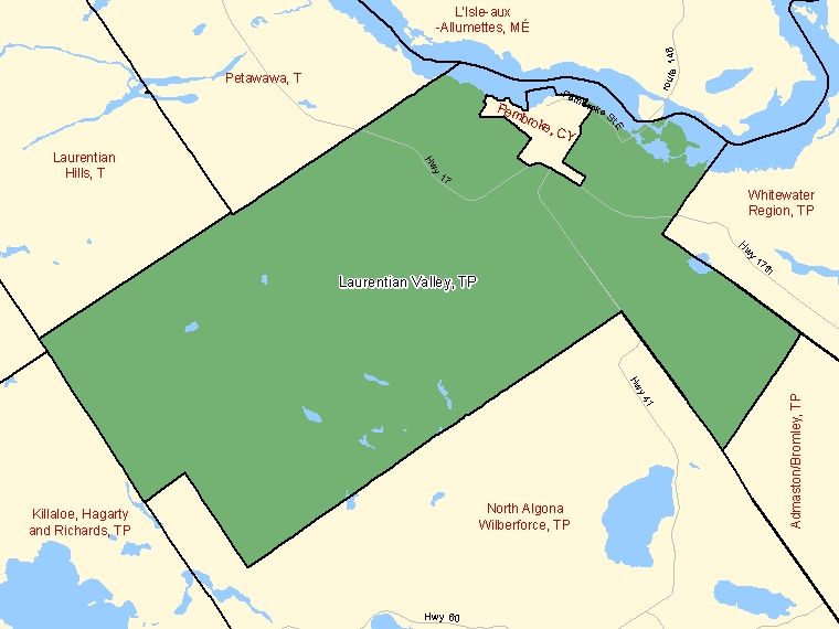 Map: Laurentian Valley, Township, Census Subdivision (shaded in green), Ontario