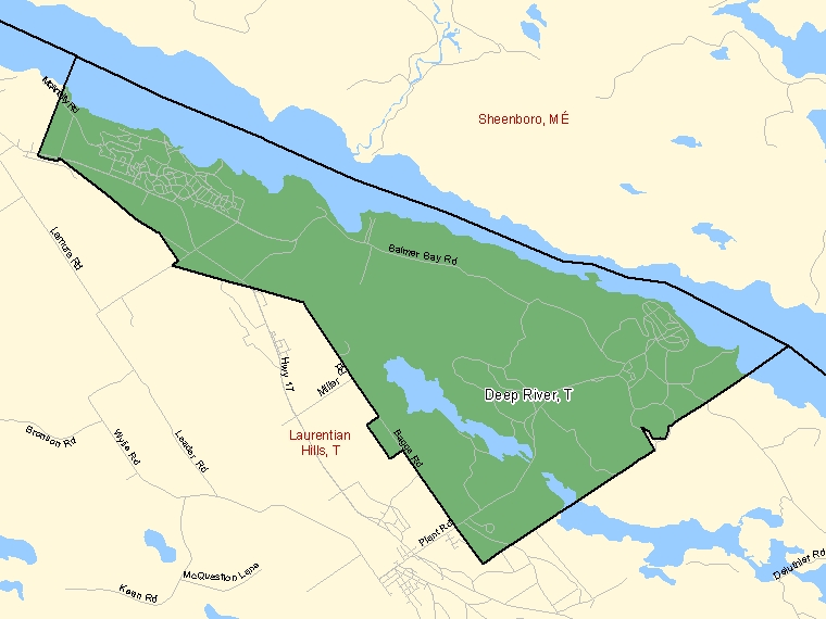 Map: Deep River, Town, Census Subdivision (shaded in green), Ontario