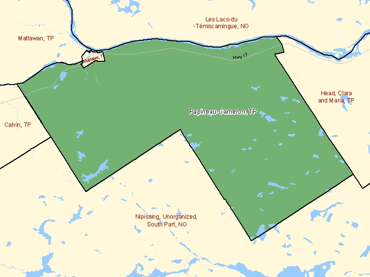 Map: Papineau-Cameron, Township, Census Subdivision (shaded in green), Ontario