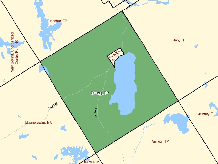 Map: Strong, Township, Census Subdivision (shaded in green), Ontario