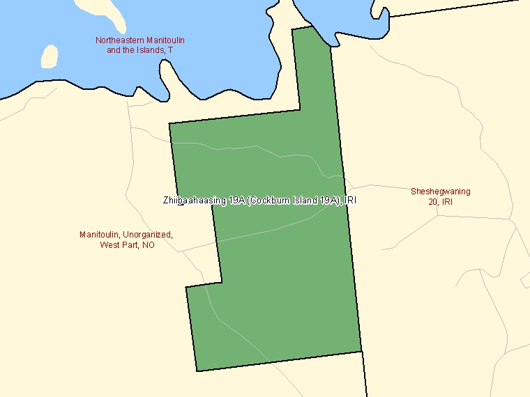 Map: Zhiibaahaasing 19A (Cockburn Island 19A), Indian reserve, Census Subdivision (shaded in green), Ontario