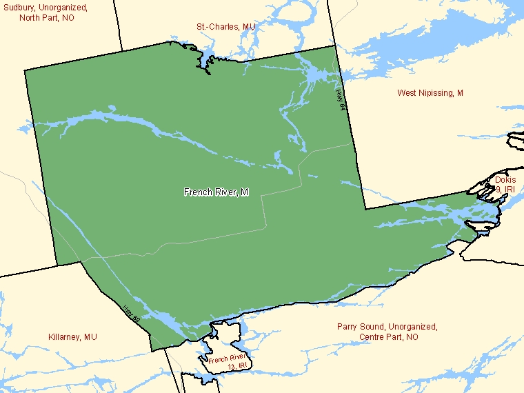 Map: French River / Rivière des Français, Municipality, Census Subdivision (shaded in green), Ontario