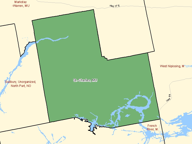 Map: St.-Charles, Municipality, Census Subdivision (shaded in green), Ontario
