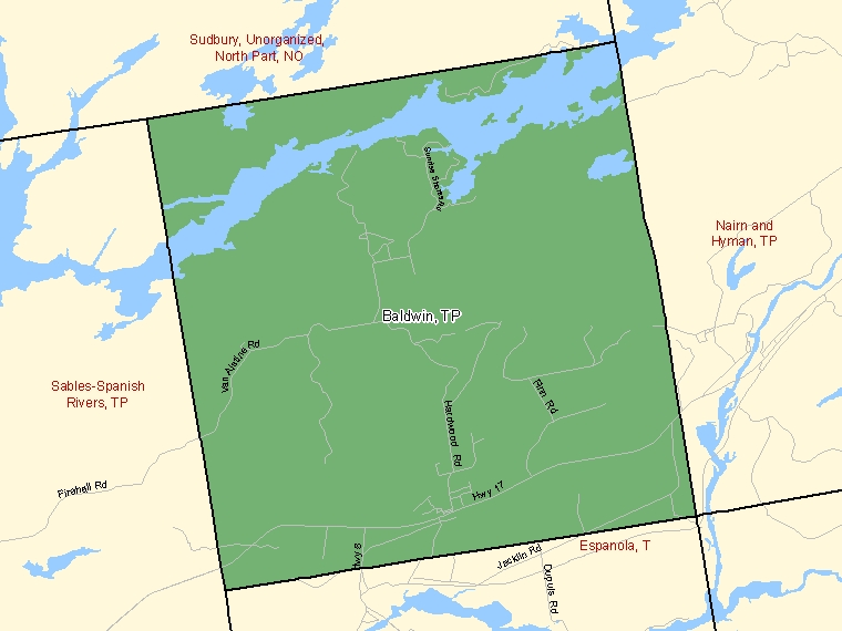 Map: Baldwin, Township, Census Subdivision (shaded in green), Ontario