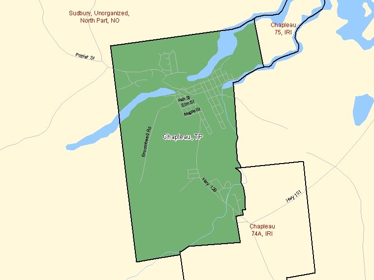 Map: Chapleau, Township, Census Subdivision (shaded in green), Ontario